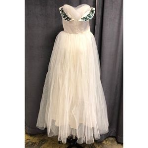 Vintage Formal Gown 1940's 1950's Tulle Dress Long